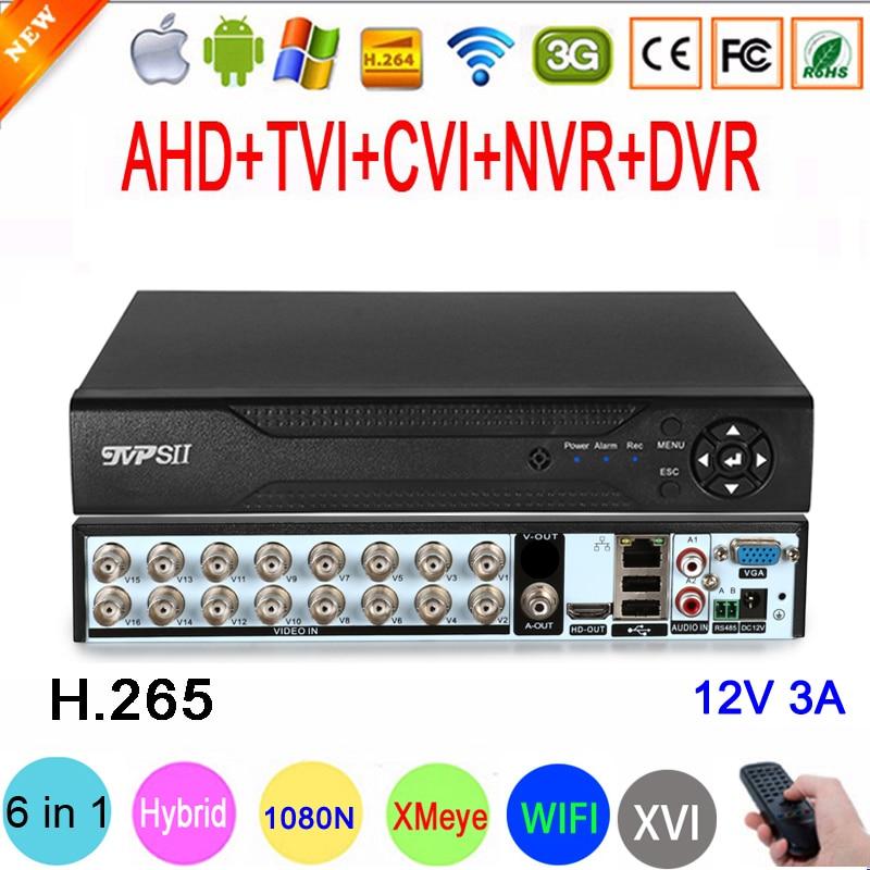 1080P/960P/720P CCTV камера XMeye Hi3521D H.265 + 16 каналов 16CH 1080N 6 в 1 Гибридный Wifi TVi CVI NVR AHD DVR видеорегистратор