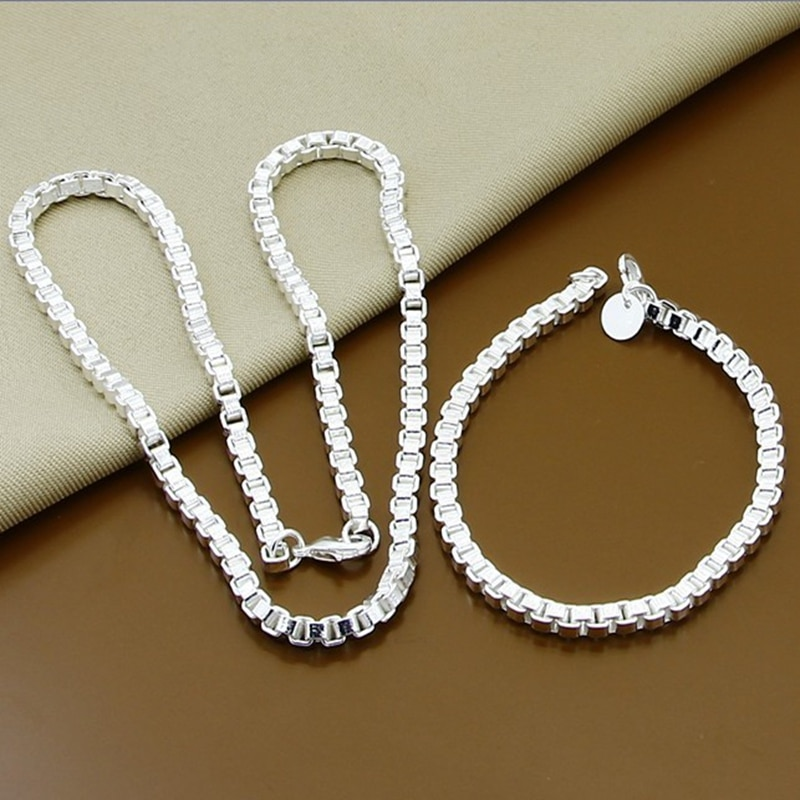 Wholesale Price 4MM Square Box Necklace Bracelet Sets 925 Silver Jewelry Sets For Woman Men Good Jewelry