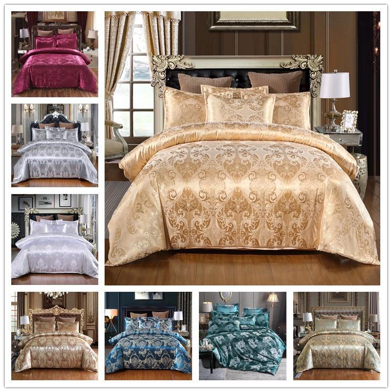 بوهيميا نمط غطاء لحاف عادي اللون الأوروبية الحرير الجاكار 2/3 قطعة الأحمر الأزرق روز الذهب لينة البوليستر السرير الكتان شقة المخدة