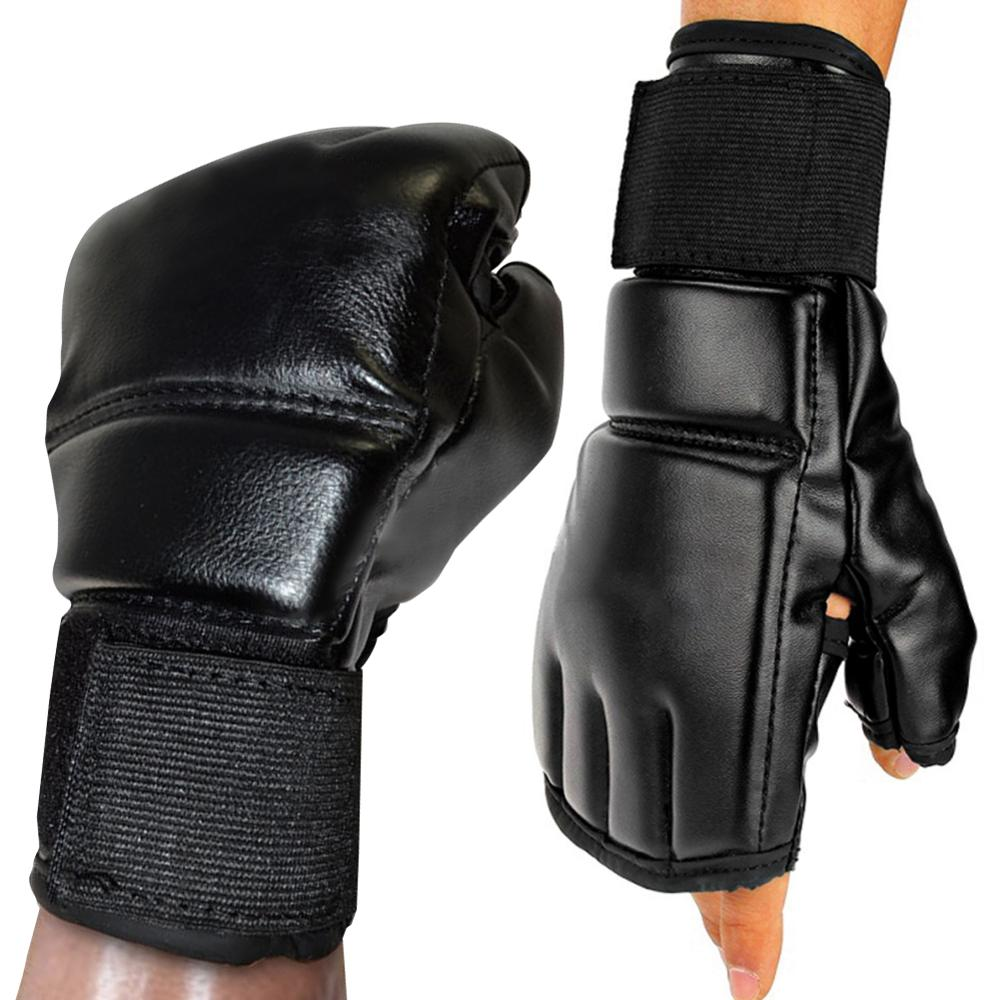 Black Fighting Sports Leather Gloves Tiger Boxing Muay Thai Boxing Gloves Boxing Sanda Boxing Half Finger Gloves
