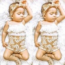 Royaume-uni 3 pièces enfant en bas âge bébé fille 0-24M vêtements dété dentelle fronde hauts Shorts floraux tenues