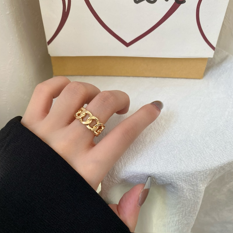Hiphop/rock metal geometria circular punk anel oco abertura dedo anel acessórios para presentes de jóias femininas