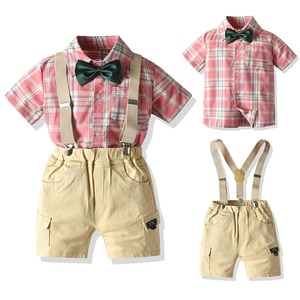 Casual Baby Boy Clothes Summer Shorts Sets Bow Plaid Shirt Fashion Overalls Children's Clothing Outdoor T-shirt ropa de bebe