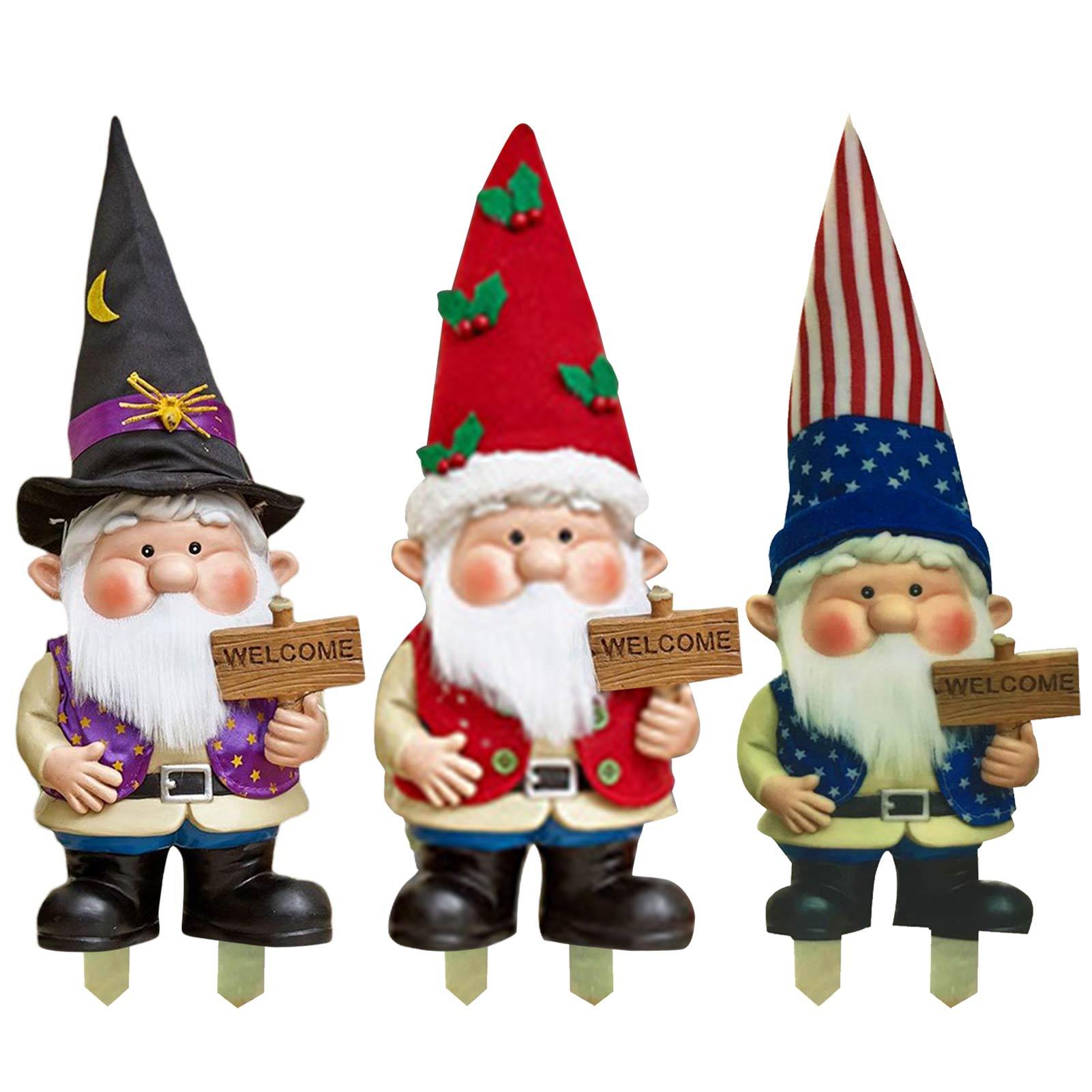 Large Garden Gnome Statue Lawn Ornament Outdoor Gnomes Figurine Funny Cute Garden Sculpture Gnomes Welcome Sign Dwarfs #