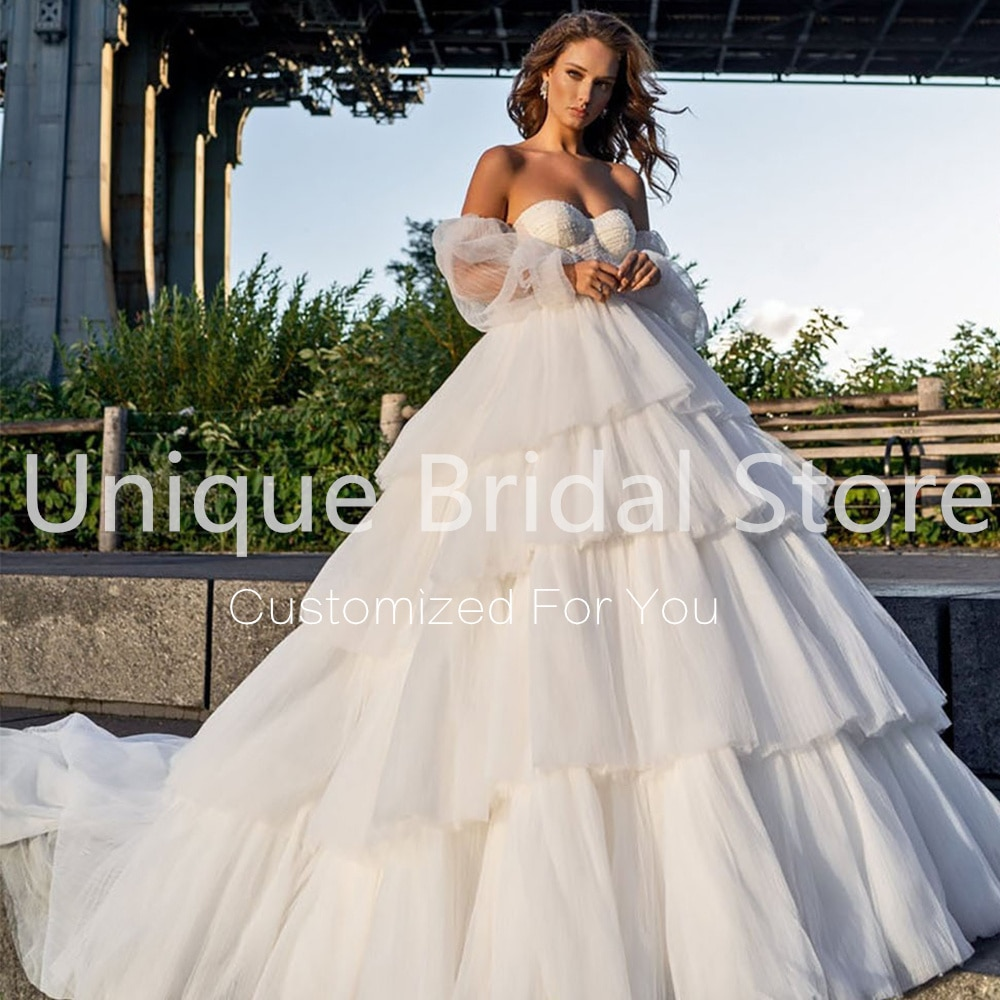 Sexy Backless Ruffles Wedding Dress A-Line Tulle Sweetheart Half Puff Sleeve Beading Bridal Gowns 2021 Vestido De Noiva