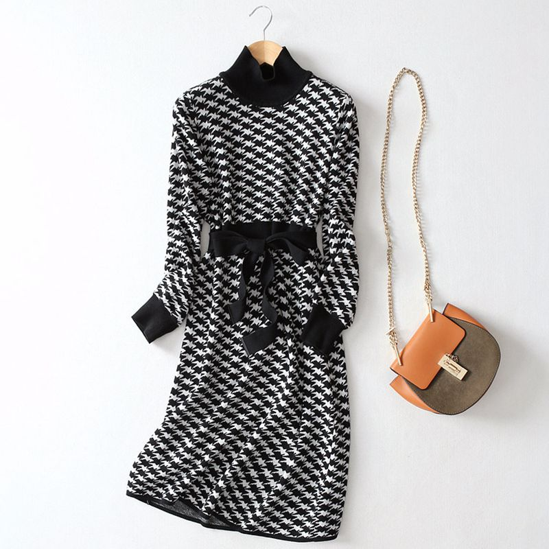 GIGOGOU роскошное жаккардовое вязаное Длинное Макси женское платье, зимнее ТРАПЕЦИЕВИДНОЕ платье-свитер, водолазка, плотное теплое платье миди для рождественской вечеринки