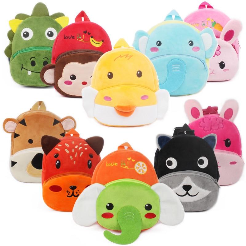 Плюшевый Рюкзак для детей 1-2 лет, мягкая школьная сумка с милыми животными для детского сада, мальчиков и девочек, мультяшный плюшевый Школь...