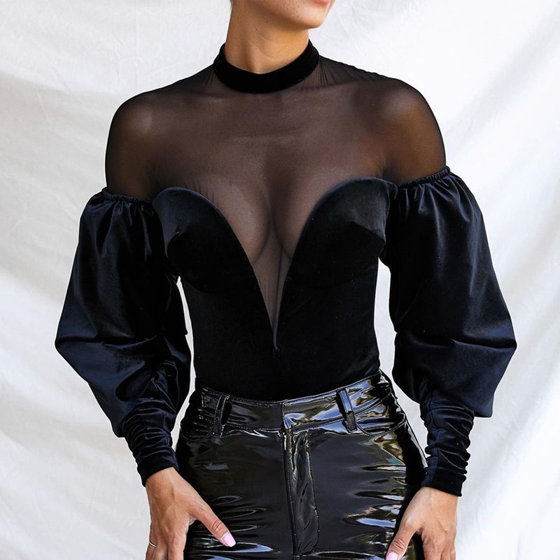 Long Sleeve Sexy Bodysuit Women Patchwork Black Rompers Womens Jumpsuit Basic Playsuit Tops Outfit