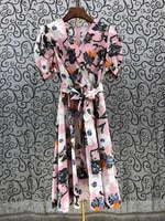 100cotton womens dress 2021 summer clothing ladies v neck exquisite floral print bow belt deco short sleeve casual pink dress