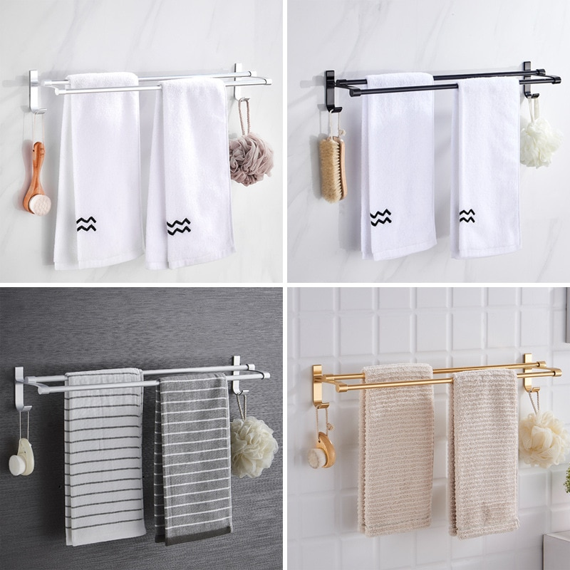 Toallero estante de almacenamiento para el baño montado en la pared doble poste de secado percha con ganchos espacio libre de golpes estantes de baño de aluminio