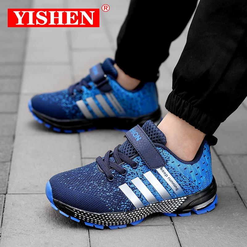 Yishen tênis esportivos respiráveis infantis, tênis para corrida e atividades ao ar livre, sapatos casuais de meninas e meninos, tênis infantil