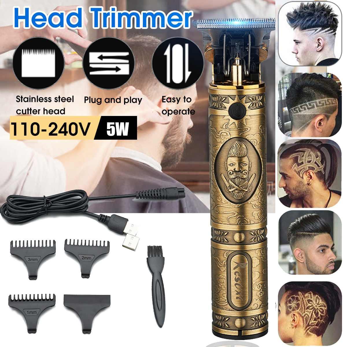 USB Rechargeable T9 Baldheaded Hair Clipper Electric hair trimmer Cordless Shaver Trimmer 0mm Men Barber Hair Cutting Machine недорого