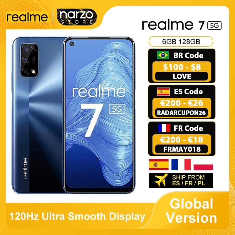 Global Version Realme 7 5G Smartphone 6GB 128GB Dimensity 800U 6.5 Inch 120Hz Display 48MP Quad Came