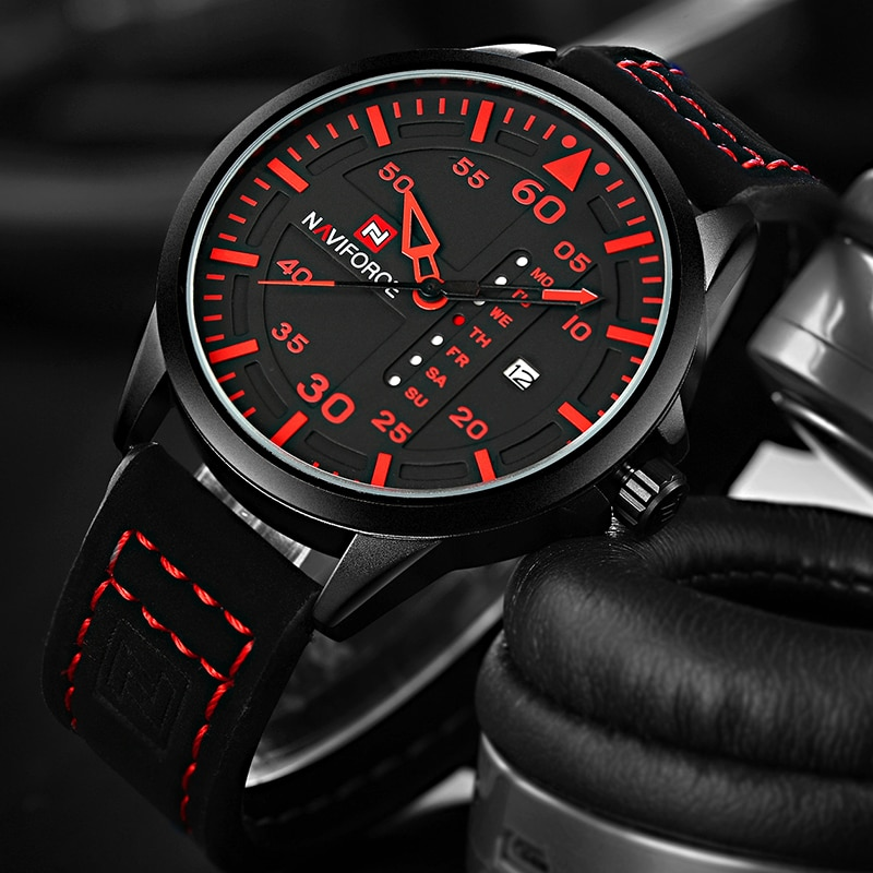 NAVIFORCE Luxury Brand Quartz Watches For men Casual Military Sports Man Watches Leather Wristwatch Male Clock Relogio Masculino military watches for men outdoor sports nylon quartz watch 2021 male fashion casual wristwatch male clock relogio masculino hot