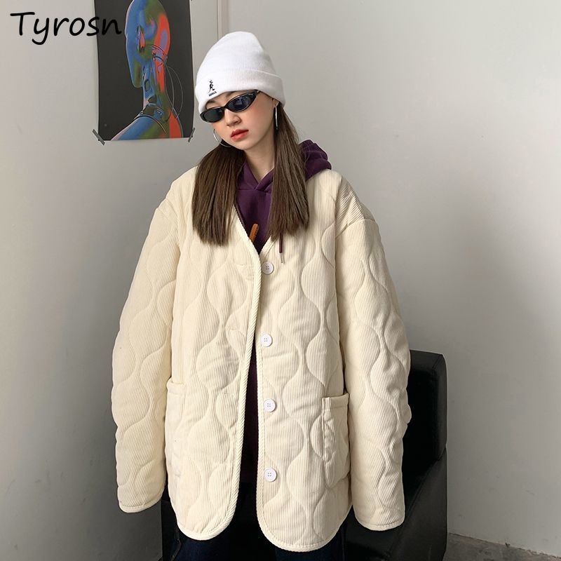 Winter Coat Women Short Style Parkas Chic Fashion Single Breasted Cotton All Match Vintage Streetwea