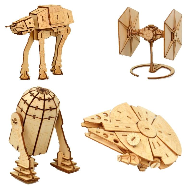 Juguetes de halcón del despertar de la guerra de las galaxias, rompecabezas de madera 3d, conjunto de juguetes de madera, Kits de artesanía de Star Wars, decoración de escritorio para niños