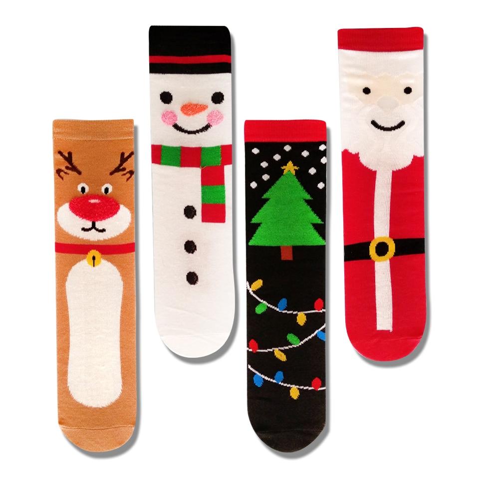 Funny cute christmas socks men women cartoon kawaii christmas tree elk cotton tube socks snowman happy socks harajuku gift недорого