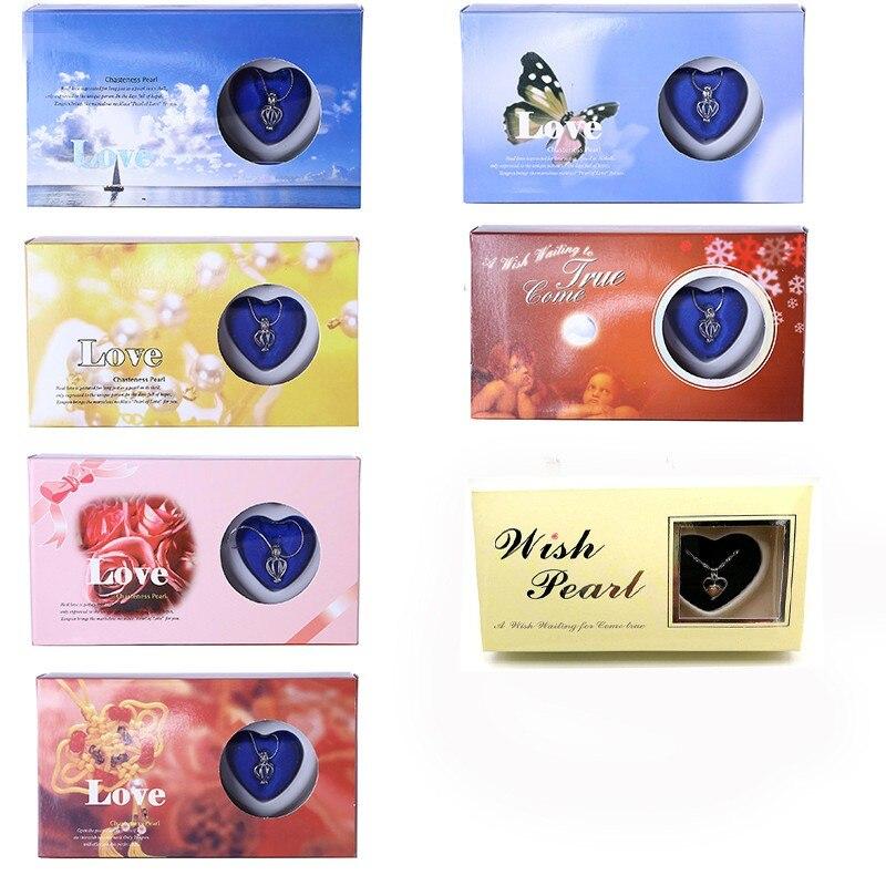 COLLAR COLGANTE con abalorio de perlas de deseo de ostra Natural caja de regalo joyería de moda Popular para mujer regalo de San Valentín presente