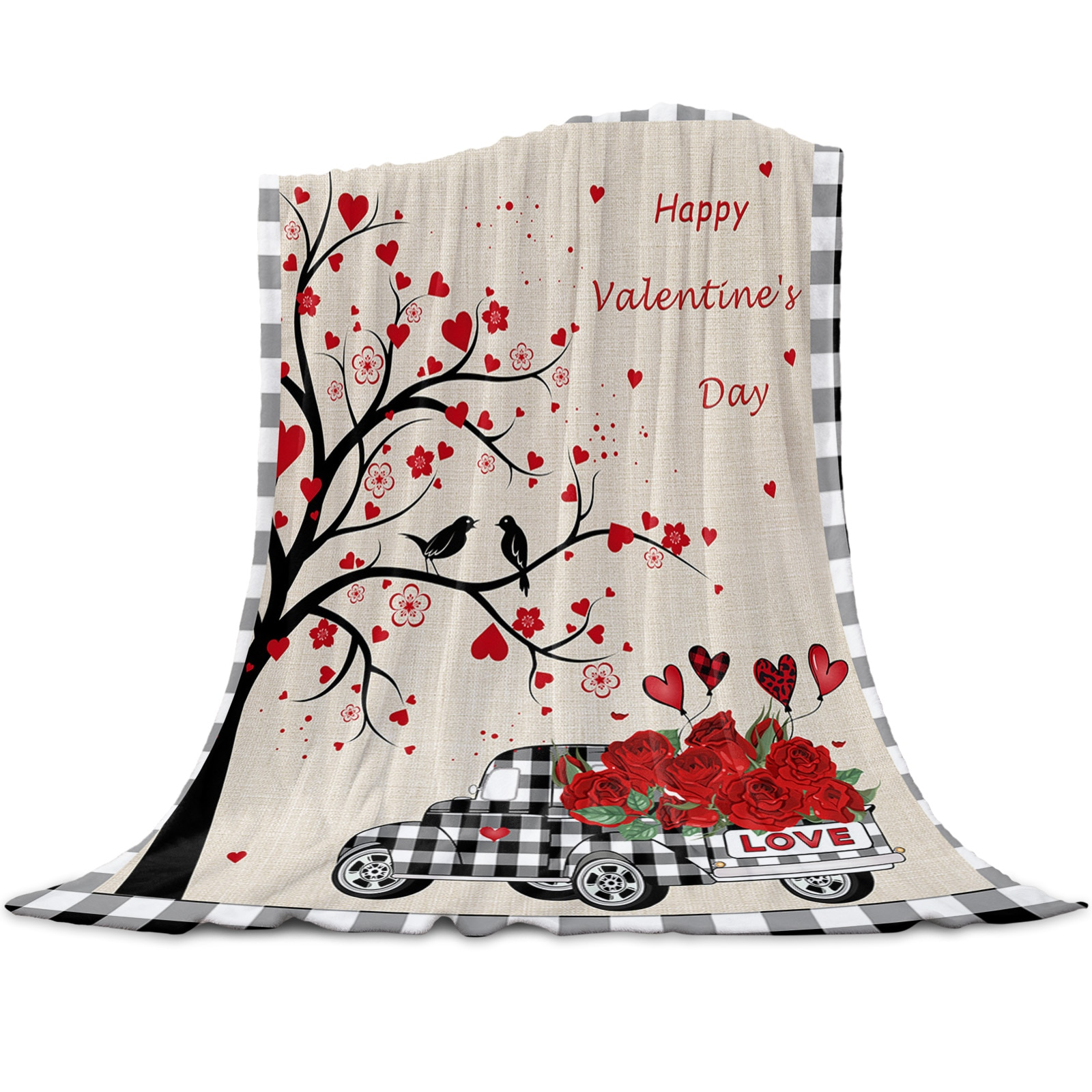 ارتفع عيد الحب شجرة شاحنة رمي بطانية للأسرة ستوكات الفانيلا بطانية دافئة أريكة الفراش المفرش الهدايا