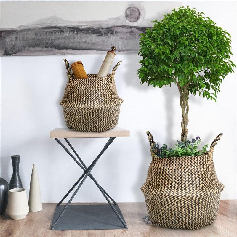 Canasta de flores tejida hecha a mano plegable de ratán, cesta de almacenamiento de ropa para plantas acuáticas naturales, cesta de flores para decoración del hogar de 38*36CM
