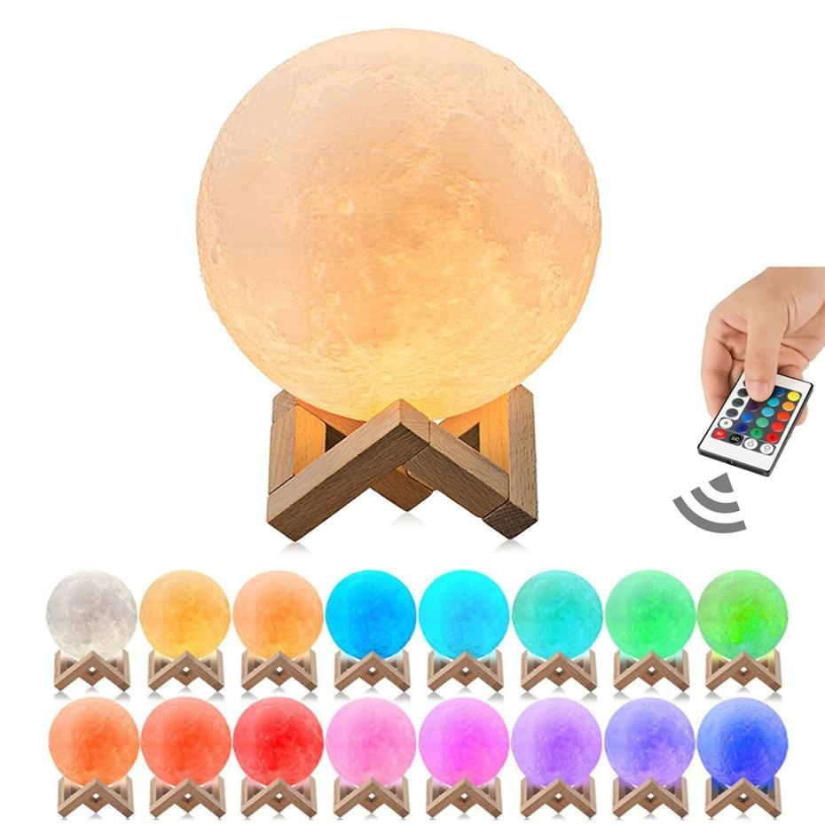 Luz de noche Led USB para decoración de dormitorio de lámpara de Luna 3D, lámpara de luz de Luna con Control remoto y táctil de 16 colores, 10cm, 15cm, 20cm