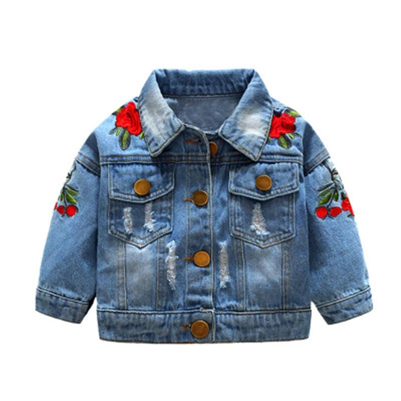 Детские джинсовые куртки; Тренч для мальчиков; Джинсовые куртки с цветочной вышивкой; Детская одежда для девочек; Пальто для малышей; Повседневная Верхняя одежда; Ветровка