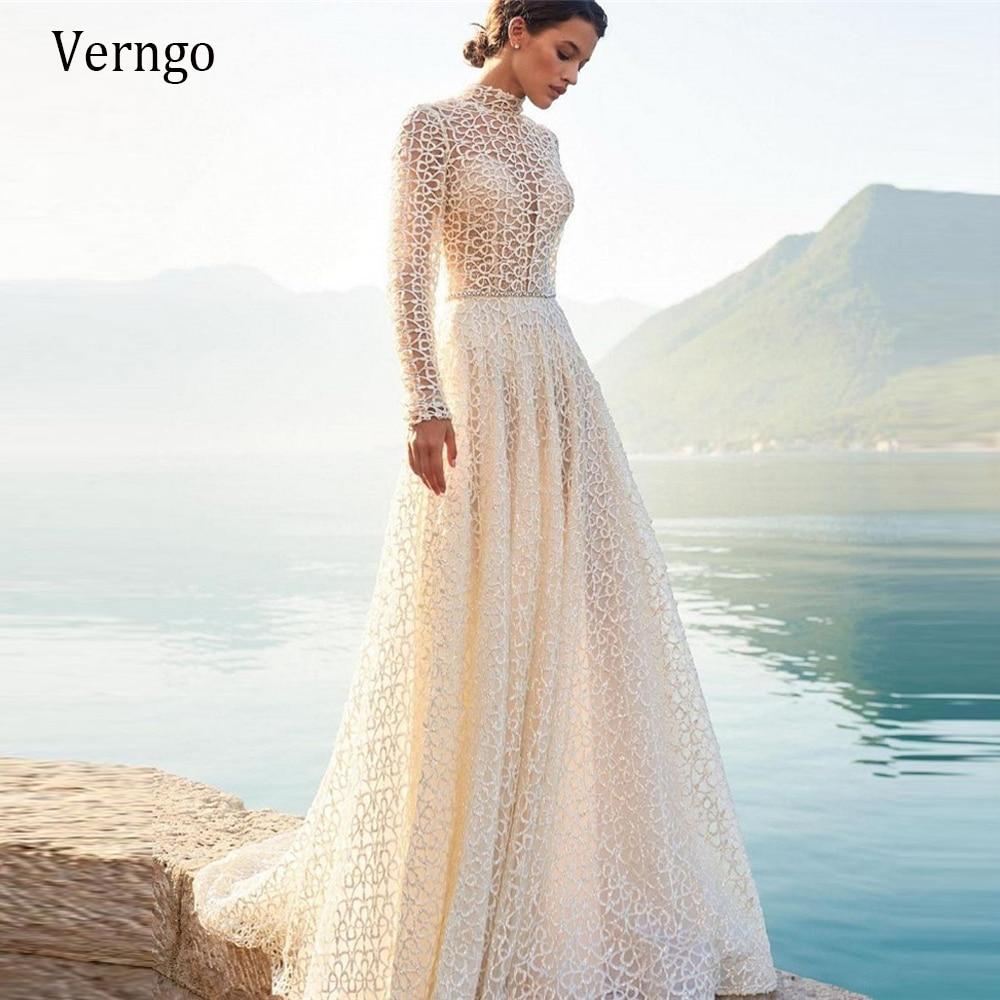 Verru-فستان زفاف دانتيل ، ياقة عالية ، أكمام طويلة ، نمط بوهو ، A-Line ، عروس ، ظهر مفتوح ، وشاح كريستال لامع ، 2021