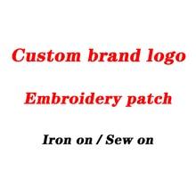 LOGO de marque 1-35   patch brodé personnalisé avec adhésif pour le repassage, renfort de points