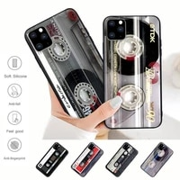 hot classical old cassette tape black silicone phone case for iphone 12 11 pro max xs x xr 7 8 6 6s plus 5 5s se 2020 cover