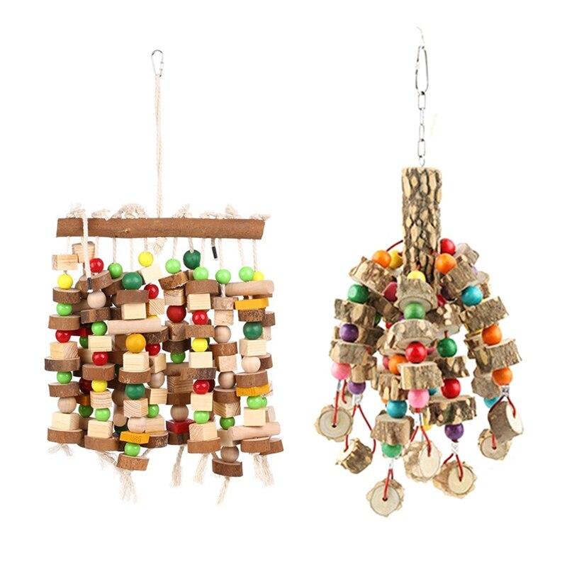 1 Uds juguete para masticar aves jaula grande y mediana para loros juguetes para morder Macaws grises africanos Eclectus & 1 Uds loro grande de madera Natural