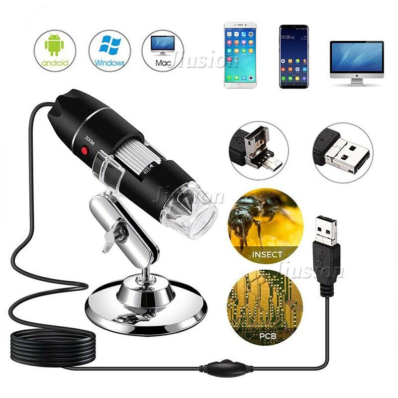 500X-1600X 8 LED Light Digital Circuit Stereo Microscope Mini Camera USB Electronics Microscopio Biology Magnifier Home School