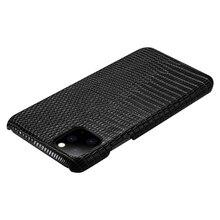 Couro genuíno caso duro fino para o iphone 11 pro max 11pro promax casos de telefone luxo ultra magro capa traseira bonito 3d lagartas linhas