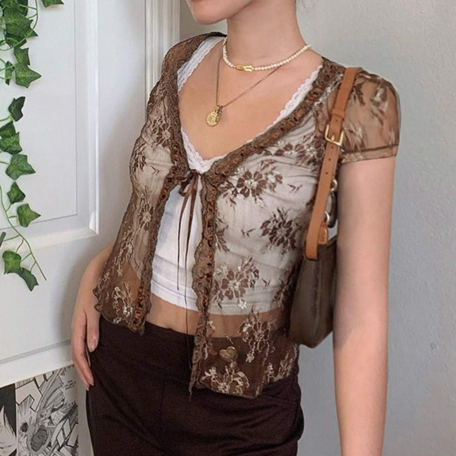 Floral Lace Cardigans Brown  Frill Cute T Shirt Tie Up Short Sleeve Tshirt Women Harajuku Tee Top Vintage