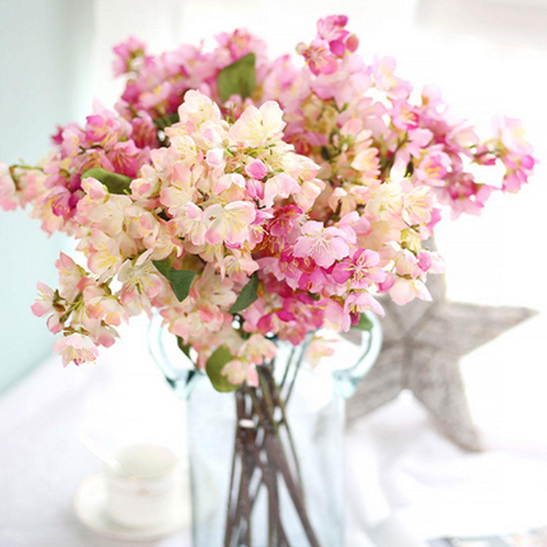 Flores falsas japonês sakura flor artificial flor de cerejeira alta qualidade buquê desejando árvore casamento decoração de festa em casa