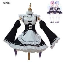 Ainiel Re Zero Cosplay Kara Hajimeru Kawaii Isekai Seikatsu Ramu RAM REM Christmas Dress Maid Apron Dress Outfit Uniform Disfraz