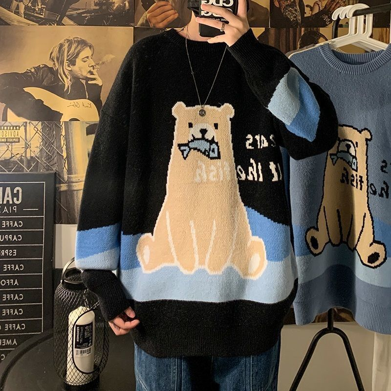 Фото - Sweater men ins Hong Kong style loose lazy wind sweater coat Korean fashion handsome men's sweater in autumn and winter fall winter sweater men thickened korean fashion personality sweater lazy pullover sweater coat