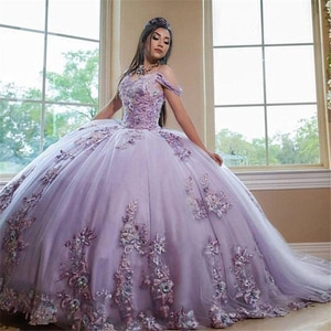 Lavender Ball Gown Quinceanera Dresses with Lace Applqiues Off the Shoulder Sweet 16 girls vestidos de 15 años 2020