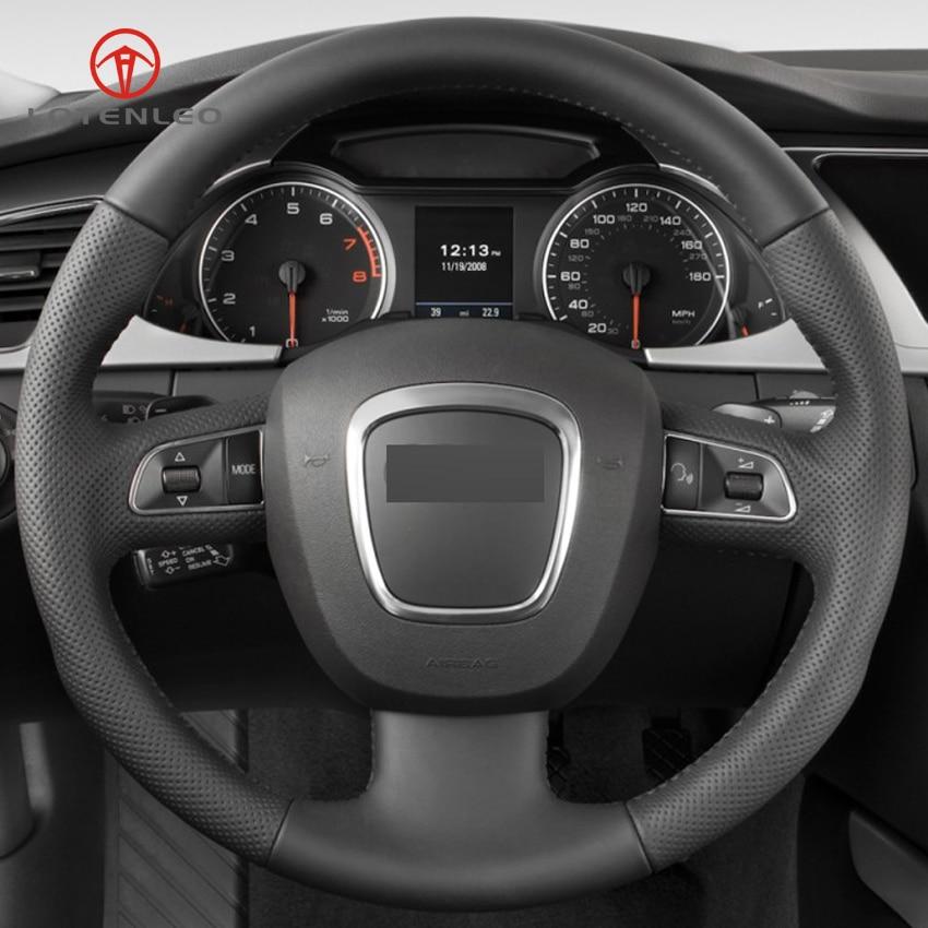 Funda para volante de coche de cuero Artificial negro LQTENLEO para Audi A3 (8 P) 2008-2013 A4 (B8) 2008-2010 A5 2008-2010 A6 (C6)