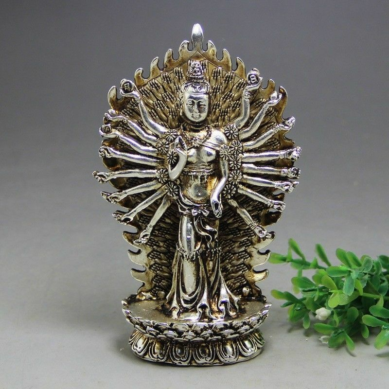 Estatua de GuanYin hecha a mano de plata tibetana china antigua