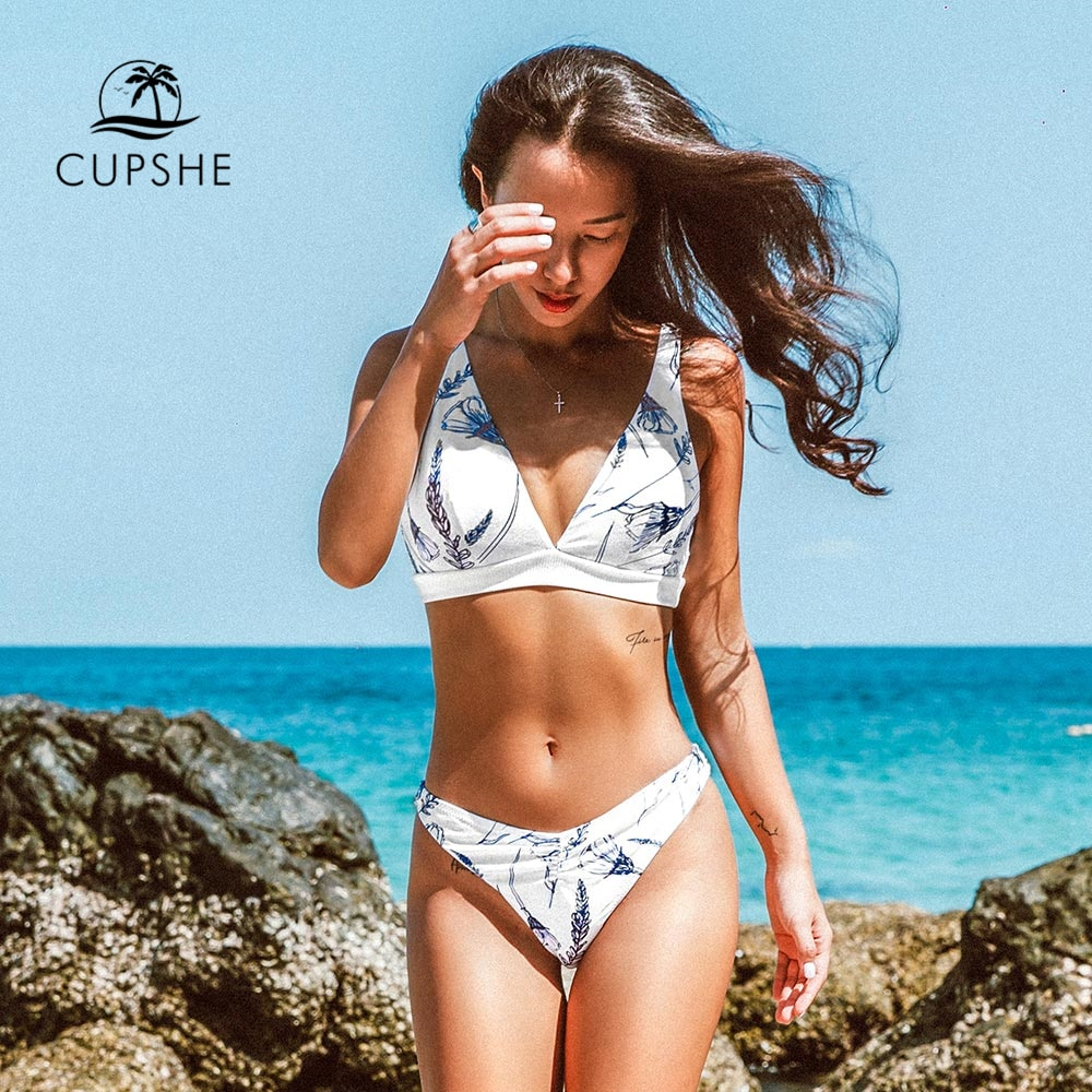 Conjunto de Bikini CUPSHE deportivo Floral con cuello en V de corte alto, traje de baño Sexy para mujer, traje de baño de dos piezas 2020, traje de baño para playa, ropa de playa
