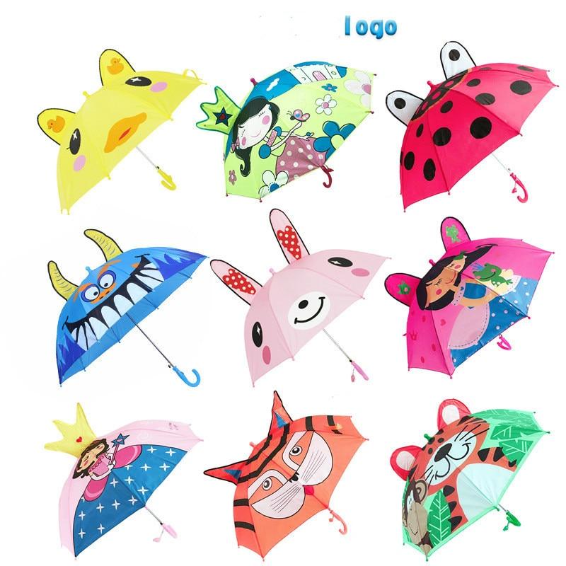 Guarda-chuva infantil fofo com animais 3d, para meninos, crianças, desenho animado, cabo longo, guarda-chuva para crianças ferramentas,