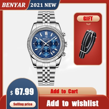 2021 New BENYAR Automatic Watch For Men Top Brand Quartz Mens Watches Chronograph Stainless Steel Waterproof Relogio Masculino