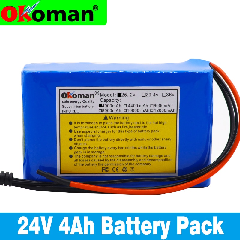 Okoman alta capacidad 24V 4Ah 18650 li-ion Paquete de batería 25,2 v 4000mAh bicicleta eléctrica, ciclomotor/eléctrico/batería de iones de litio