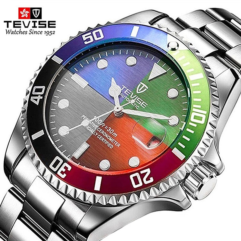 TEVISE Original Four color dials Business Men Automatic Self Wind Mechanical Luminous Mmilitary Stai