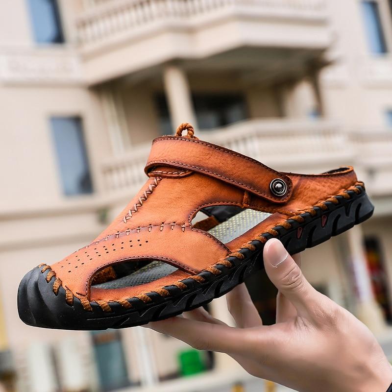 Sandalias 2019 de cuero genuino para hombres, sandalias de playa de verano para tiempo libre para hombres, sandalias de alta calidad, zapatillas Bohemias de gran tamaño 38-46