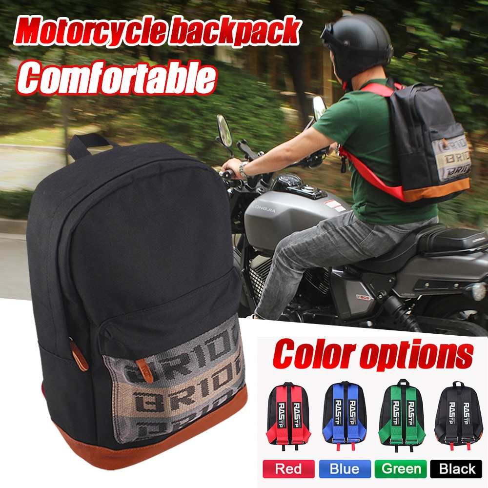 RASTP-Racing Style Bride Fabric Backpack Waterproof Motorcycle Bag Motorcycle Backpack Travel Luggage Harness Straps RS3-BAG039