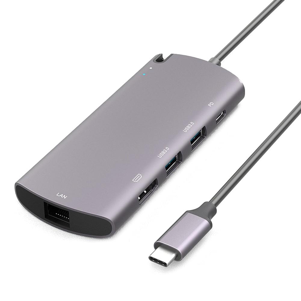 M.2 NGFF قالب أقراص صلبة المحمولة المزدوجة USB 3.0 6 في 1 متر. 2 SSD محطة الإرساء PD شحن سريع نوع-C محور أداة خالية