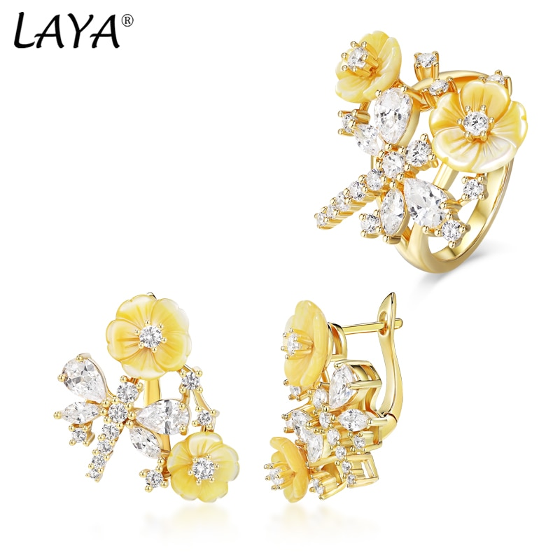 Review Laya 925 Sterling Silver High Quality Zircon Natural Shell Flower Ring Drop Earrings Sets For Women Luxury Jewelry 2021 Trend