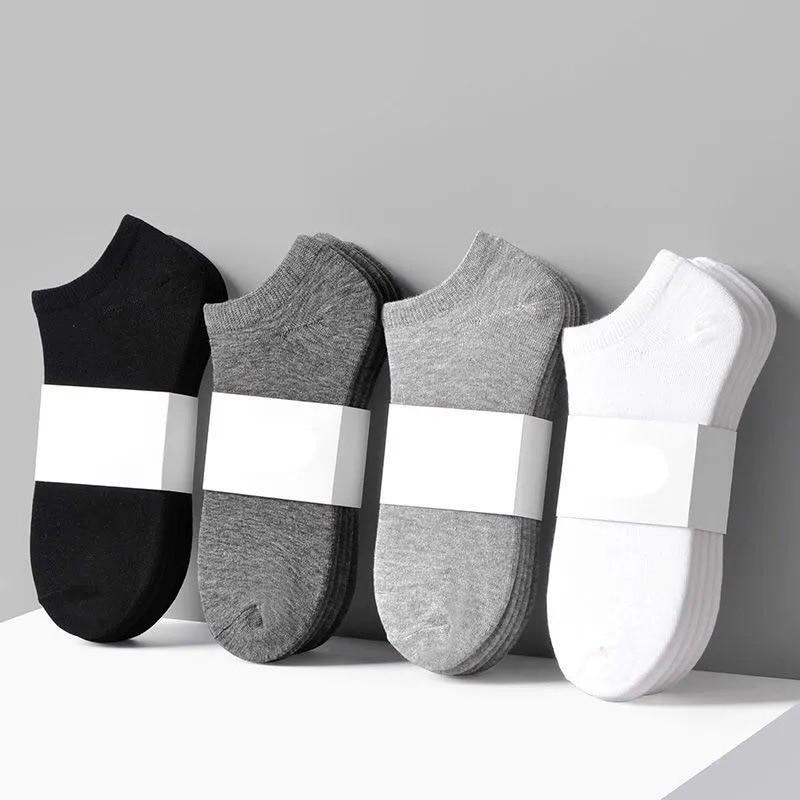 5 Pairs/Lot Low Cut Men Socks Solid Color Black White Gray Breathable Cotton Sports Socks Male Short Socks Women Men