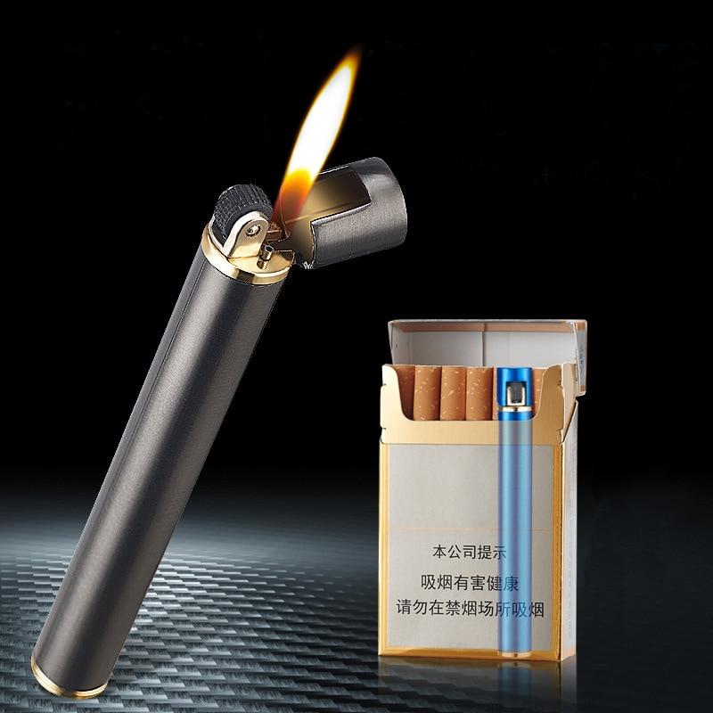 Mini Cigarette Lighter Grinding Wheel Flint Free Fire Butane Gas Lighter Portable Can Be Placed Cigarette Box Smoke Accessories